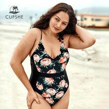 Cupshe plus size floral impressão com decote em v um pedaço maiô feminino sexy malha monokini fatos de banho 2020 menina praia