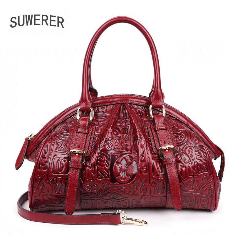 2019 New women genuine leather bag bags handbags women famous brands Retro  embossing fashion women handbags shoulder big bag 599d9036374d