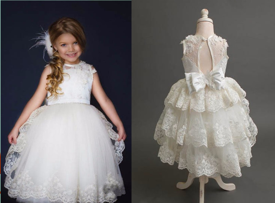 Real Image sheer ivory lace flower girl dresses beautiful mid-calf tiered prom ball gowns girls First Communion Gown Custom retail fashion summer girl dress sleeveless kids dresses for girl tutu party dress lace polka dot novatx brand girls clothes