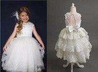 Real Imagen pura Cordón de marfil vestidos de niña hermosa mid-becerro prom vestidos de bola niñas Primera Comunión vestido personalizado