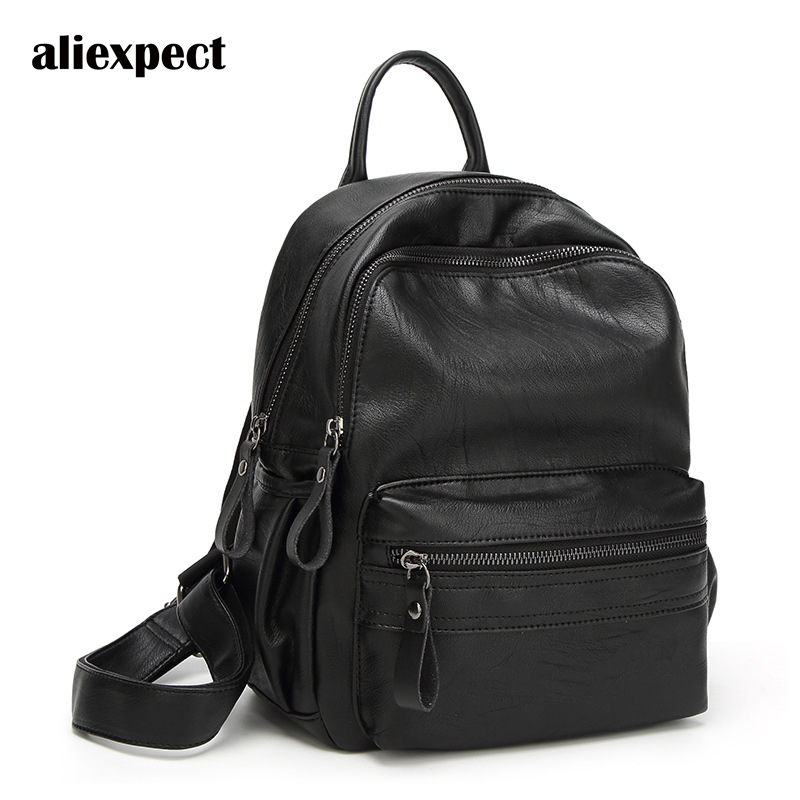 2018 Summer New Washed Leather Soft Shoulder Bag Korean Version of Fashionable Minimalism Wild Leather Bag Travel Backpack qiaobao 2018 new korean version of the first layer of women s leather packet messenger bag female shoulder diagonal cross bag