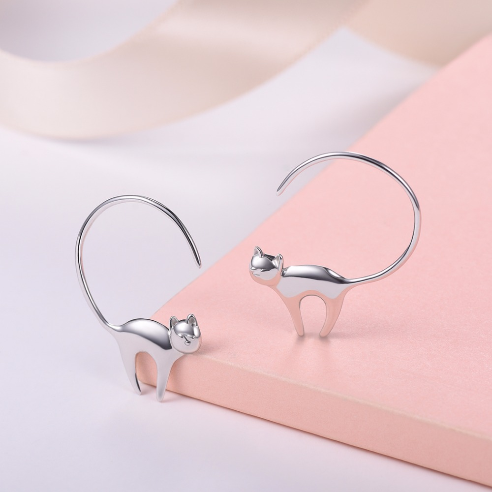 Silvercute Tiny Long Tail Kitty Cat Stud Earring Authentic Silver 925 Fine Women Jewelry Girls Simple Animal Brincos SCE6085B in Earrings from Jewelry Accessories