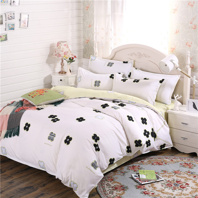 White black flower bedding sets cartoon soft good quality fashion white black flower bedding sets cartoon soft good quality fashion duvet cover sets twin full queen mightylinksfo