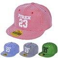 2015 niños de la manera gorra de béisbol de la raya niño casquette snapback 23 carta plana hip hop sombrero chico y chica