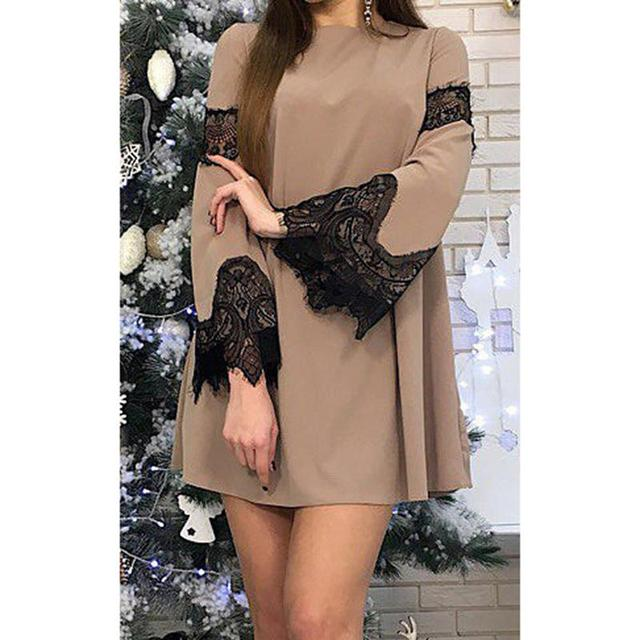 Women lace dress long sleeves tunic short round neck party 2018 New year Spring Vestido Mini Swing Dress Female WS6108y
