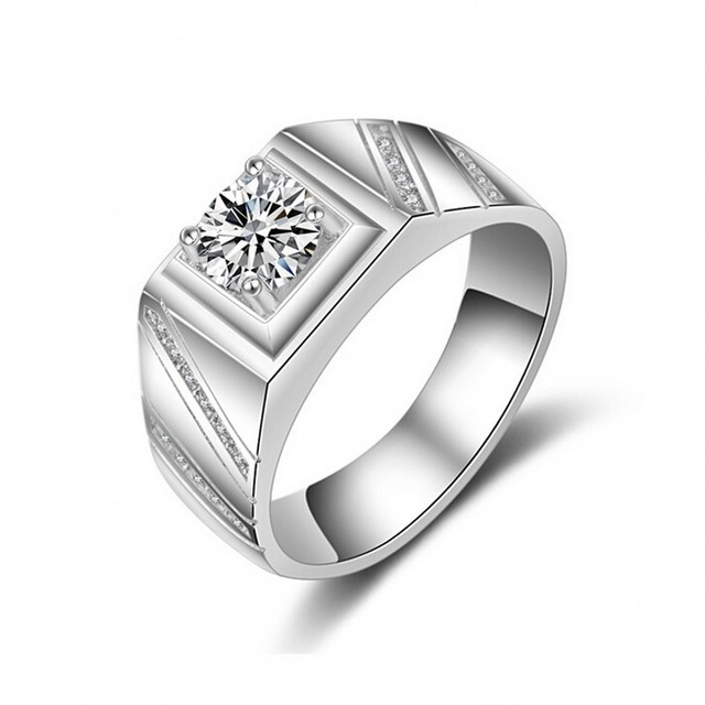 Luxury Fashion Jewelry Solitaire Men ring 1ct Simulated diamond CZ 925 Sterling silver Emgagement Wedding Band Ring for men