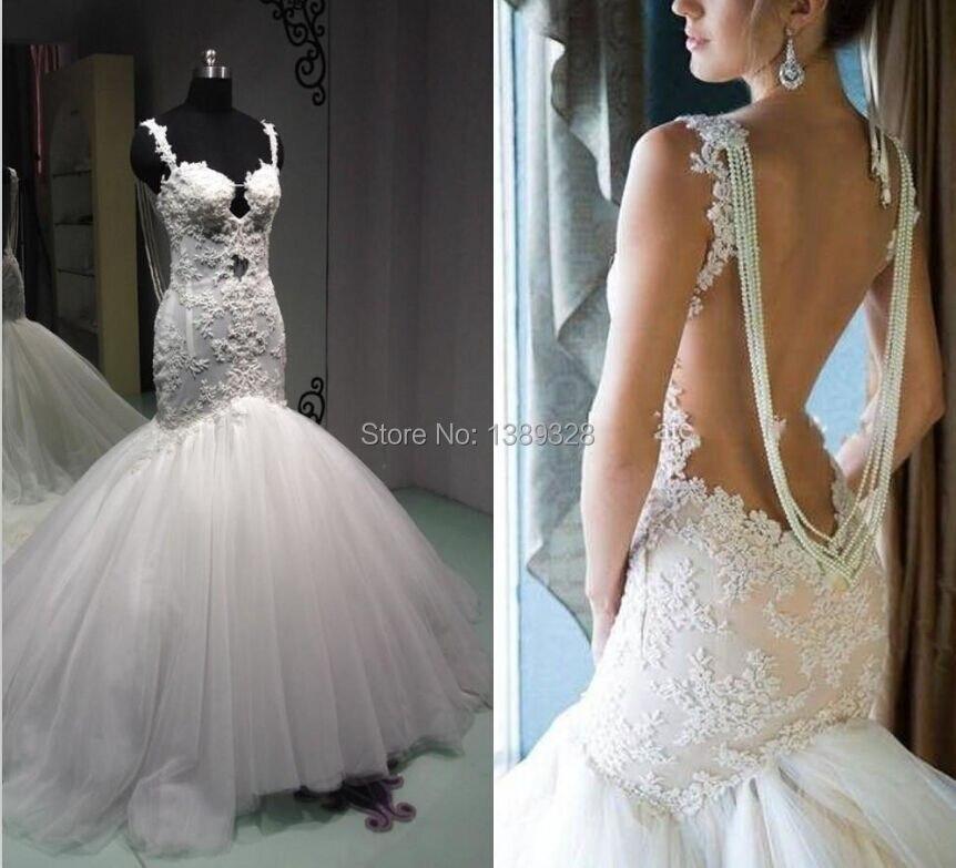 Роскошные винтажные романтические кружевные свадебные платья русалки с открытой спиной 2018 бусины из перламутра фатиновые Свадебные плать