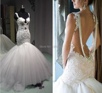 Luxury Vintage Romantic Lace Mermaid Wedding Dresses Backless 2015 Bead Pearls Tulle Sleeveless Cathedral Train Bridal