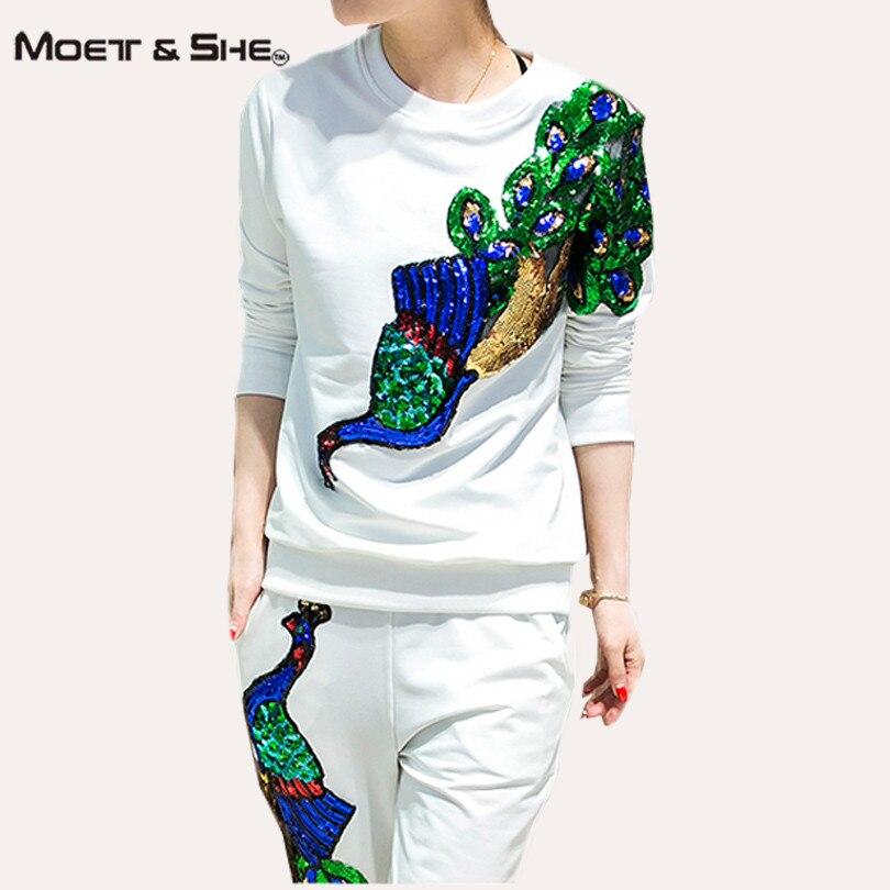 Women Tracksuits Brand Set  Autumn Sequin Graphic Phoenix /Peacock  2 Piece Set Plus Size 3XL S67252R