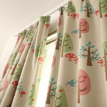 Trees Cloth Curtains For Bedroom Living Room Cartoon Forest Small Fresh Printing Blackout Fabric