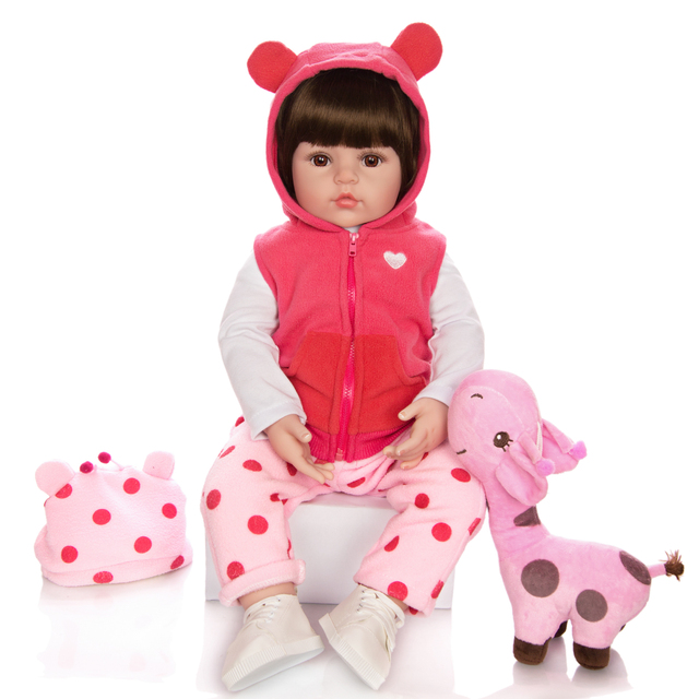 KEIUMI Giraffa Carino Reborn Baby Girl Doll Reale Veramente In Vinile Del Silicone Boneca Reborn FAI DA TE Giocattolo Bambola di Pezza Per I Bambini Di Compleanno regalo