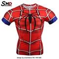 2016 Marvel Гражданской Войны Spiderman Comic Сжатия Футболка Fit Tight Бодибилдинг Костюм Костюм Железный Человек Плюс размер XXXXL