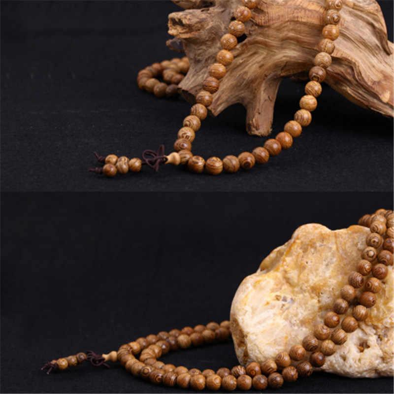 Pulseras 108 cuentas 8mm Natural sándalo budista Buda madera oración cuenta Mala Unisex hombres Pulseras y brazaletes joyería Bijoux