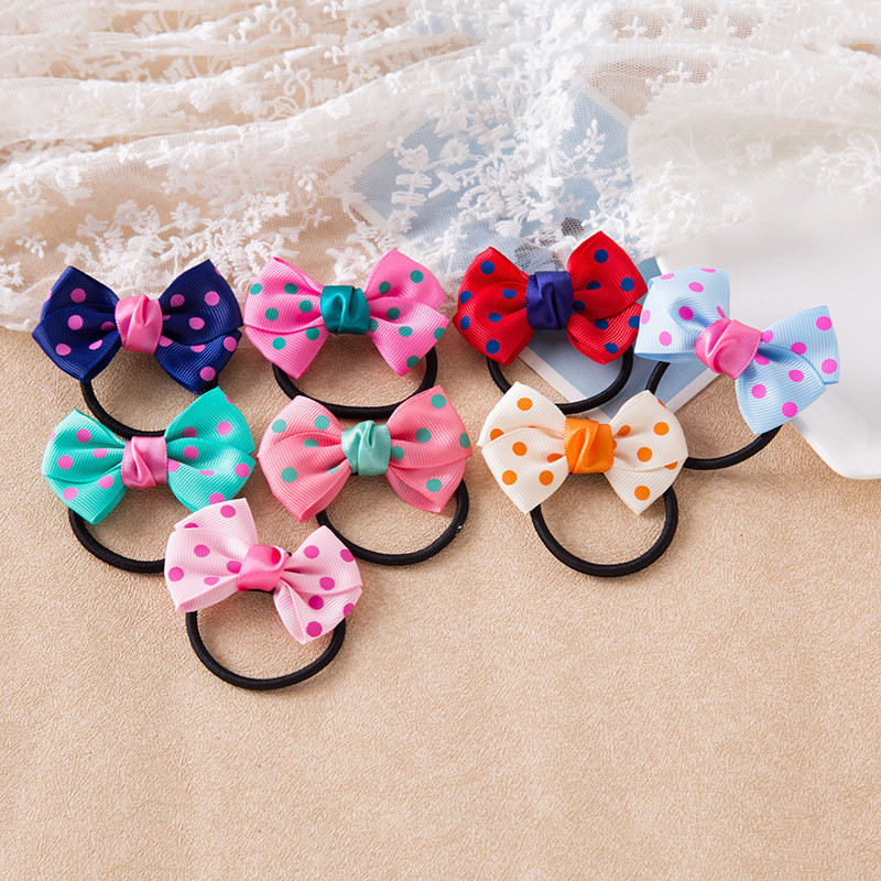 1PCS Creative Dots Solid Bow Elastic Hair Bands Toys For Girls Handmade Child Rope Headband Scrunchy Hair Accessories For Kid