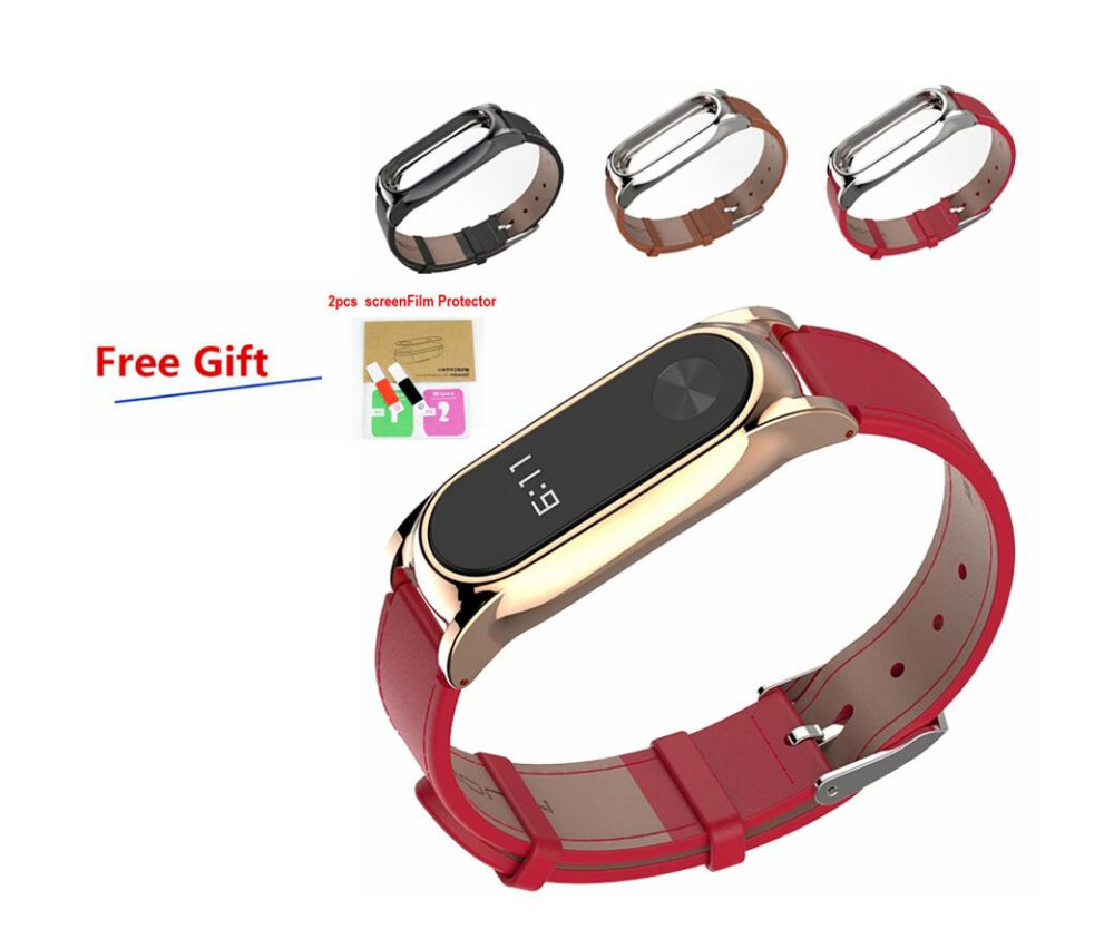 Xiaomi Mi Band 2 Wristband Leather Strap Belt Metal clip For Mi Band 2 Smart MiBand Replacement Bracelet with protector film wristband watch 2018 replacement band strap metal case cover for xiaomi mi band 2 bracelet 0703