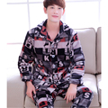Mens Pyjama Sets Winter Fashion Long Sleeve Cardigan Men Flannel Pajamas Suits For Male Sleepwear Nightwear Loungewear L-3XL
