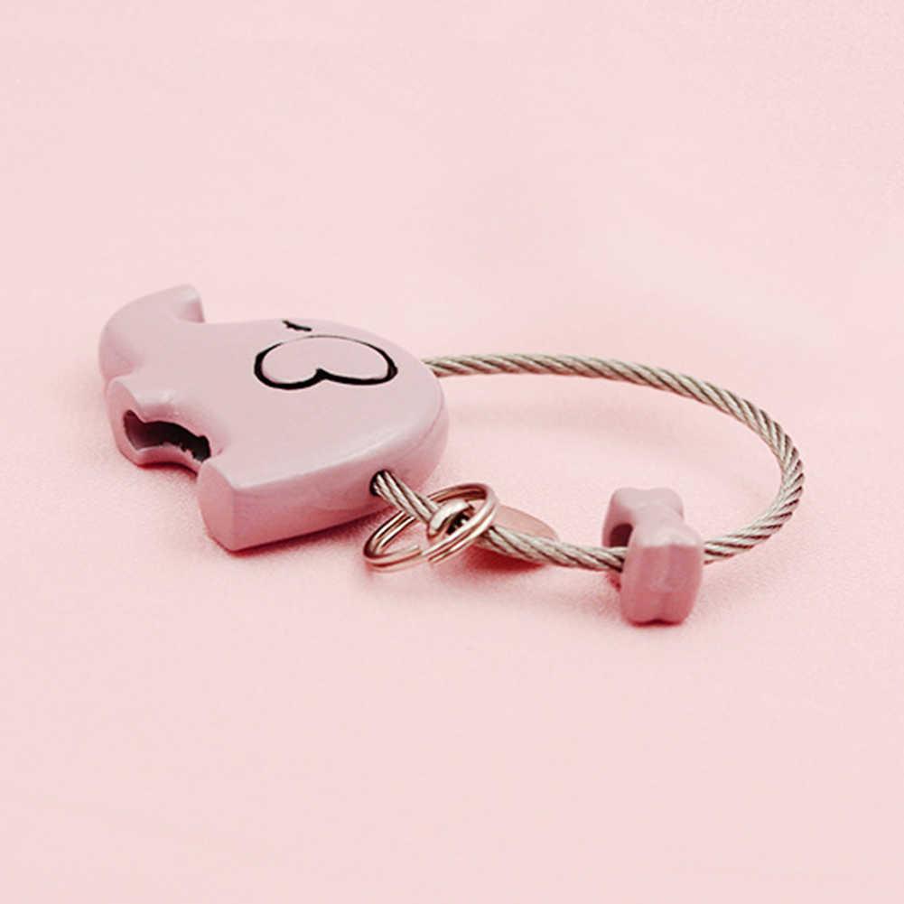 יפה Cartoon פיל בעלי החיים Keychain פלדת חוט מפתח שרשרת Keyring פיל סגנון סגסוגת תליון Keychain זוג מתנה סיטונאי