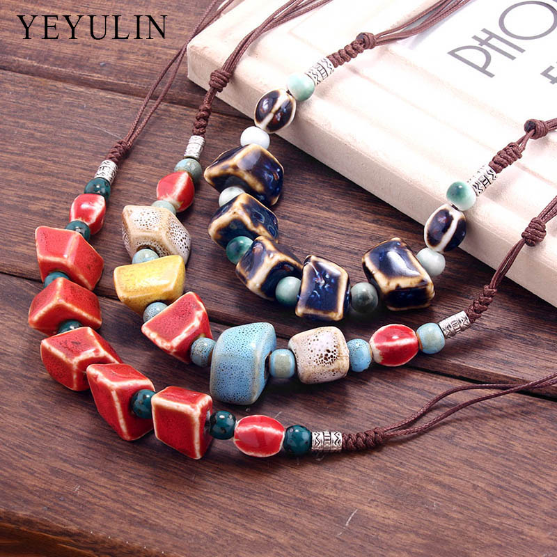 New Design Retro Special shaped ceramics Beads Choker Necklace for women ladies Collar jewelry Gift