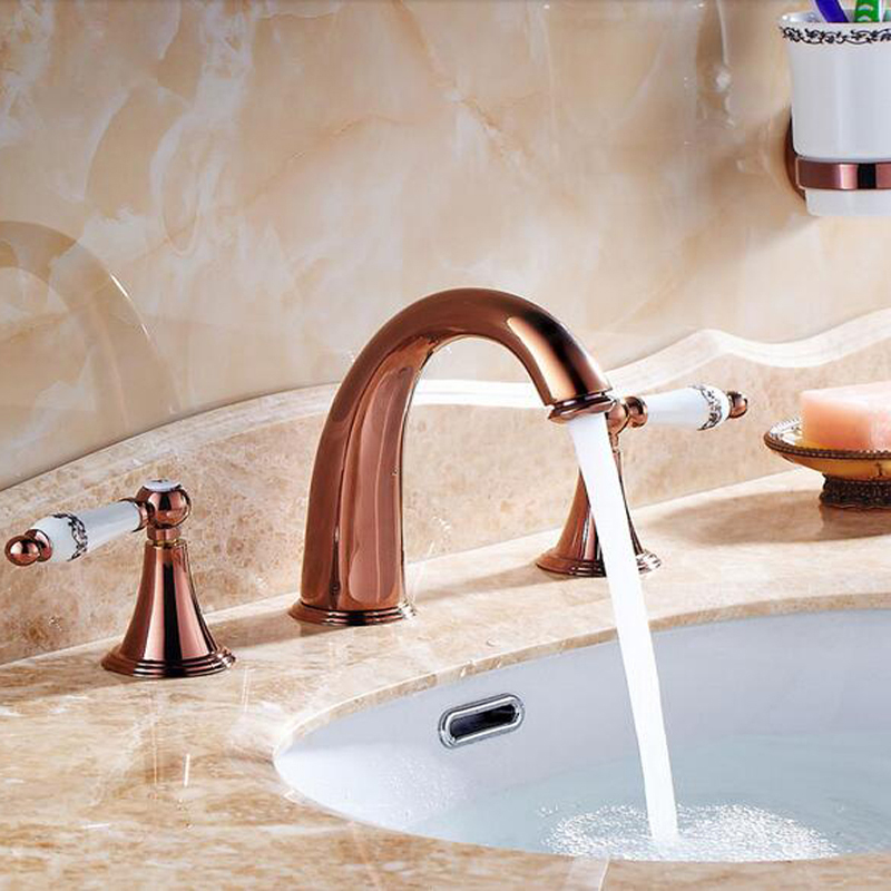 Wholesale And Retail Widespread Rose Golden Bathroom Basin Faucet Solid Brass Sink Mixer Tap Roman Faucet Deck Mounted