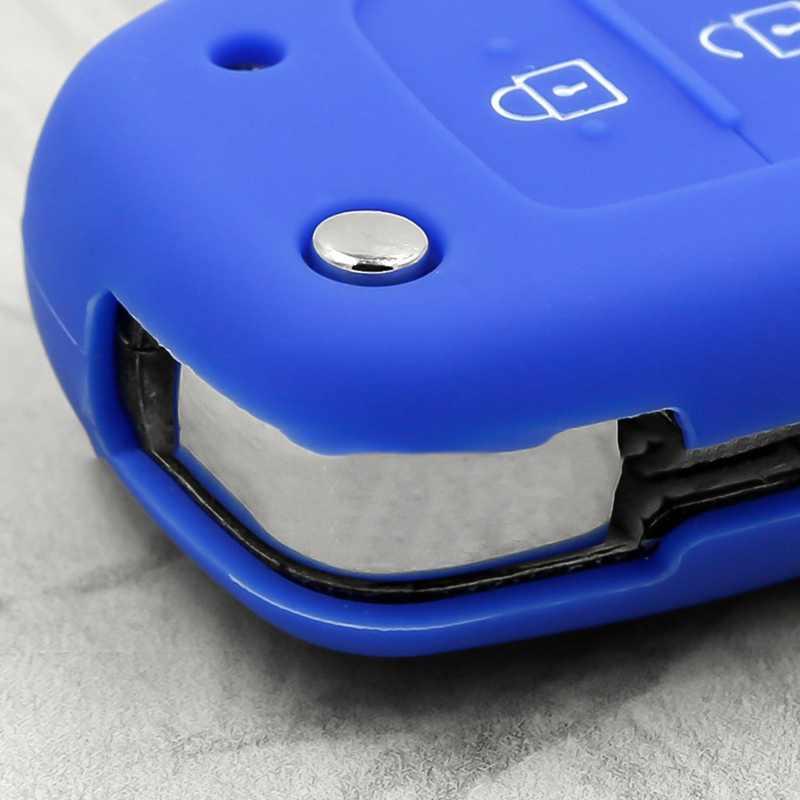 3 düğme silikon araba uzaktan anahtar kutu koruma kapağı Hyundai Creta için I10 I20 Tucson Elantra 2016 2017 2018