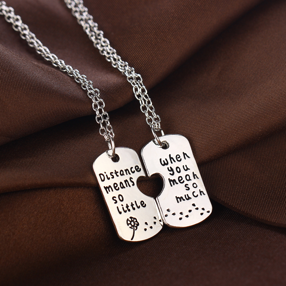 """2PC Long Distance Relationship Jewelry """"Distance Means So Little When You Mean So Much"""" Pendant Necklace Dandelion Charm Gifts(China)"""