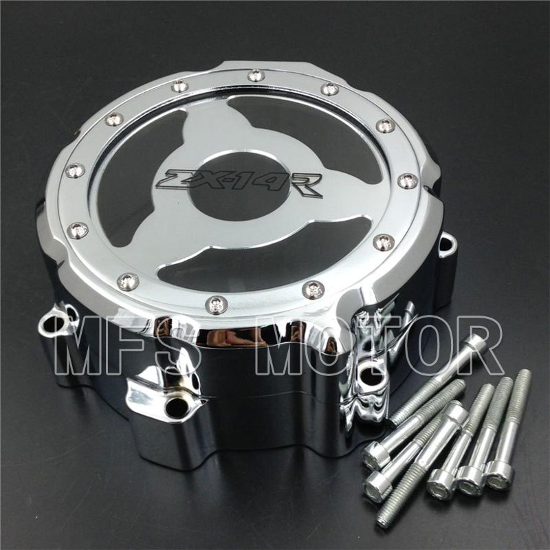 CHROME Motorcycle Left Engine Stator cover see through For Kawasaki ZX ZX14R ZZR1400 2006 2007 2008 2009 2010 2011 2012 2013 aftermarket free shipping motorcycle parts billet engine stator cover for honda cbr600rr f5 2007 2012 chrome left