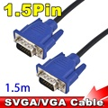 1PC 1.5 M 5FT 15 Pin VGA Cable SUPER VGA SVGA Male To Male Video VGA Connector Cable Cord Extension Monitor FOR PC TV projector