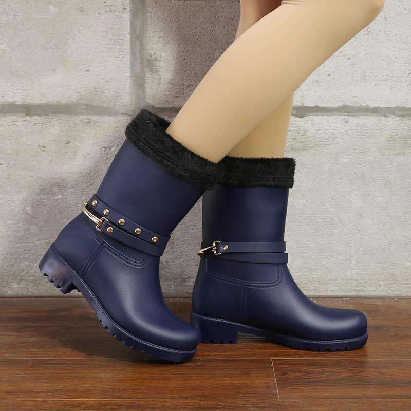 Zincir 2019 yaz kadın yağmur çizmeleri çorap kauçuk kadınlar orta buzağı çizmeler su geçirmez konfor rahat Martin çizmeler yağmur