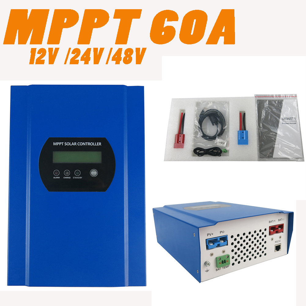 60A MPPT Solar Charge Controller with LCD 48V 24V 12V Automatic Recognition RS232 Interface to Communicate with Computer Smart1 60a 12v 24v 48v solar charge controller engineering premium quality com rs232 with pc