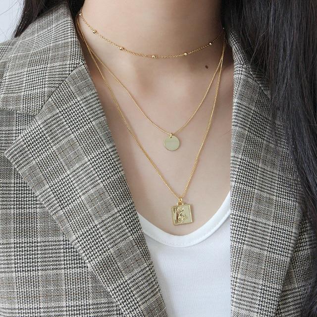Фото flyleaf золотые квадратные ожерелья и кулоны с розами для женщин цена