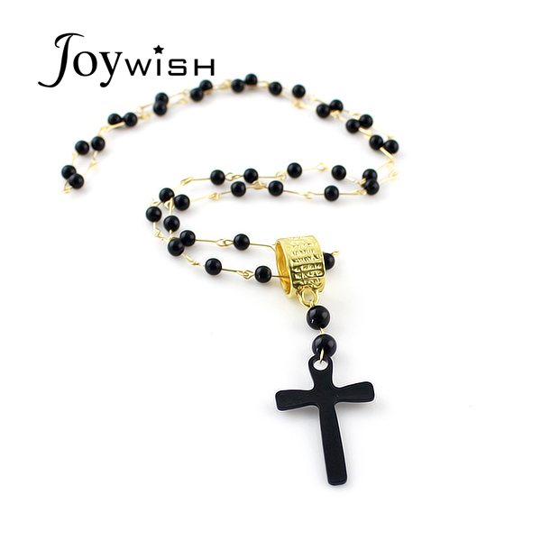 Black Cruz Pendant Beads Long Chains Cross Pendant Necklaces  for Women Top Sale Fashion Designer Jewelry