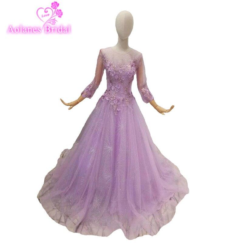 2018 Purple Tulle O neck A line Long Sleeves Party Prom Dress Floor length Illusion Formal Evening Dresses Vestido De Festa