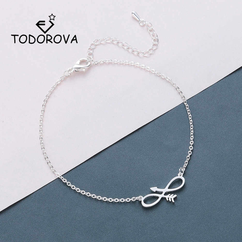 Todorova Stainless Steel Women Bracelets Rose Gold Adjustable Infinity with Arrow Charm Bracelets Everyday Gifts for Men
