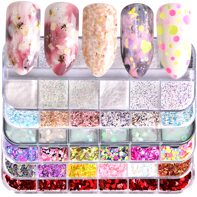12 Grids Nail Glitter/Flakes/Mirror Powder 3D Charms Mermaid Irregular Star Round Sequins Dust Set Decoration for Nail TR844