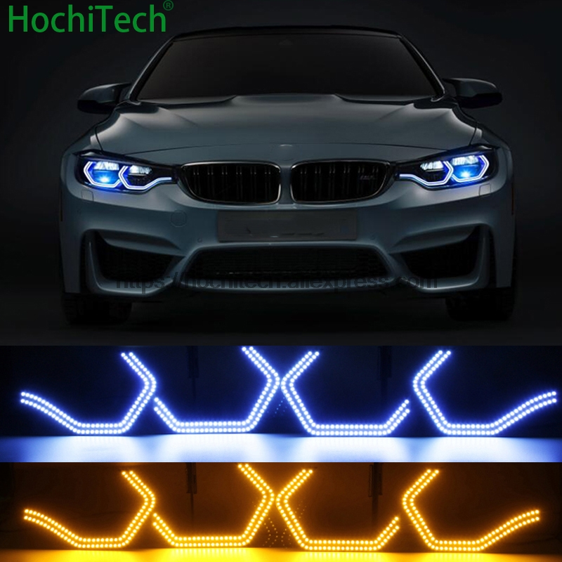 white and yellow turning signal Concept M4 Iconic Style LED Angel Eye for BMW 4 series F32 435i 428i 420d 420i 440i 2013-18 2pcs new style m performance side skirt sill decal stripe vinyl sticker for bmw 4 series f32 f33 420i 428i 435i