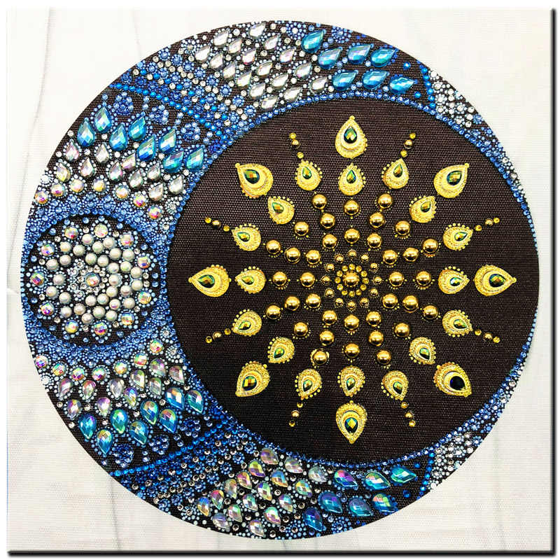 RUBOS DIY 5D Diamond Embroidery Mandala Sun Triptych Diamond Painting Multi Picture Rhinestones Pearl Big Mosaic Sale Wall Decor