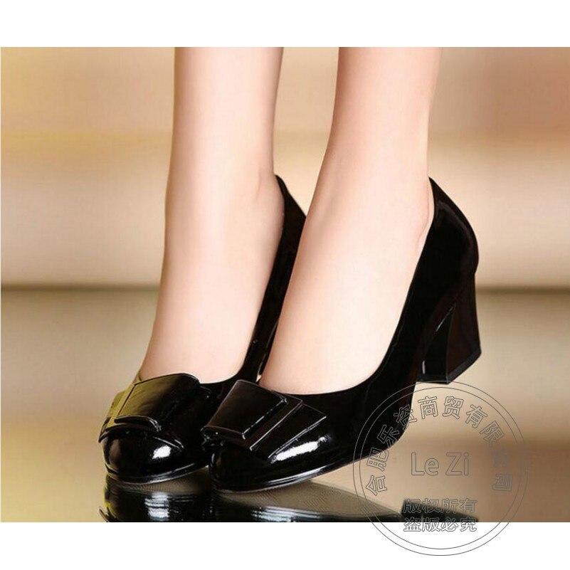 Square Medium Heel Shoes font b Women b font Autumn Genuine Bows Bowtie Slip On Metal