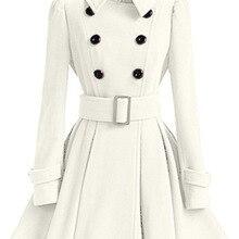 Зимнее женское Шерстяное Пальто, ветровка с разноцветным поясом, топ с повязкой, белая шерсть, платье для девочек, куртка, толстая женская верхняя одежда размера плюс