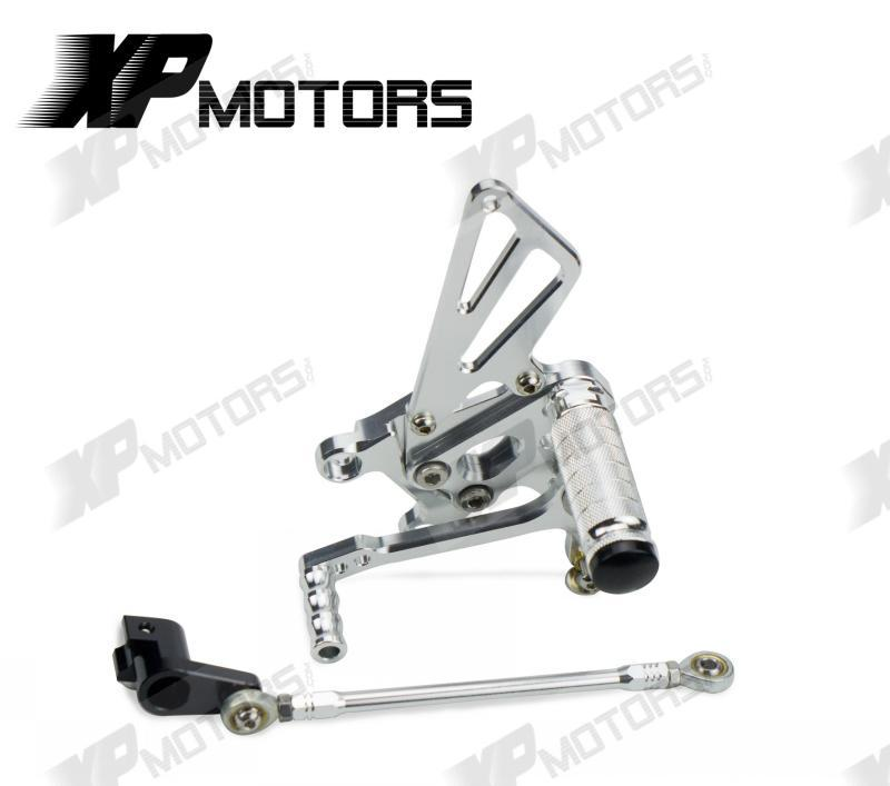 Silver CNC Race Adjustable Foot pegs Rearset Rear Sets For Aprilia Tuono1000 V4 R 2011 2012 2013 2014