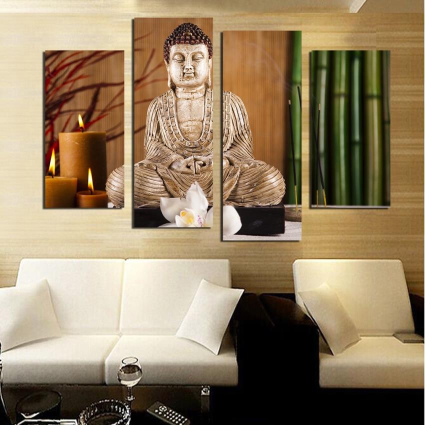 Buy 4 pcs eligion buddha canvas paintings - Lienzos decorativos ...