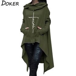 2018 New Faith Letter Embroidered Long Hoodies Women Long Sleeve Irregular Hem Pocket Sweatshirt Female Plus Size Pullover Tops 2
