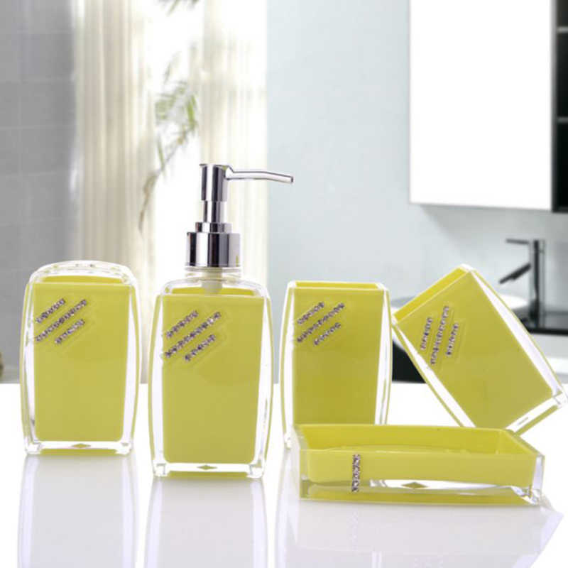 ONEUP 5 sztuk/zestaw akrylowe łazienka komplet garniturów mydelniczka dozownik szczoteczka do zębów pasty zestaw świeczników łazienka zestaw akcesoriów do kąpieli