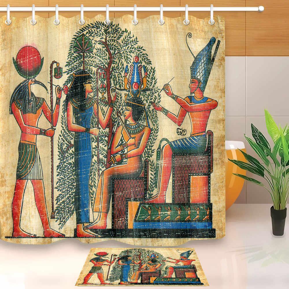 lb king queen khufu pharaoh ancient egyptian shower curtain liner and bath mat set bathroom waterproof fabric for bathtub decor
