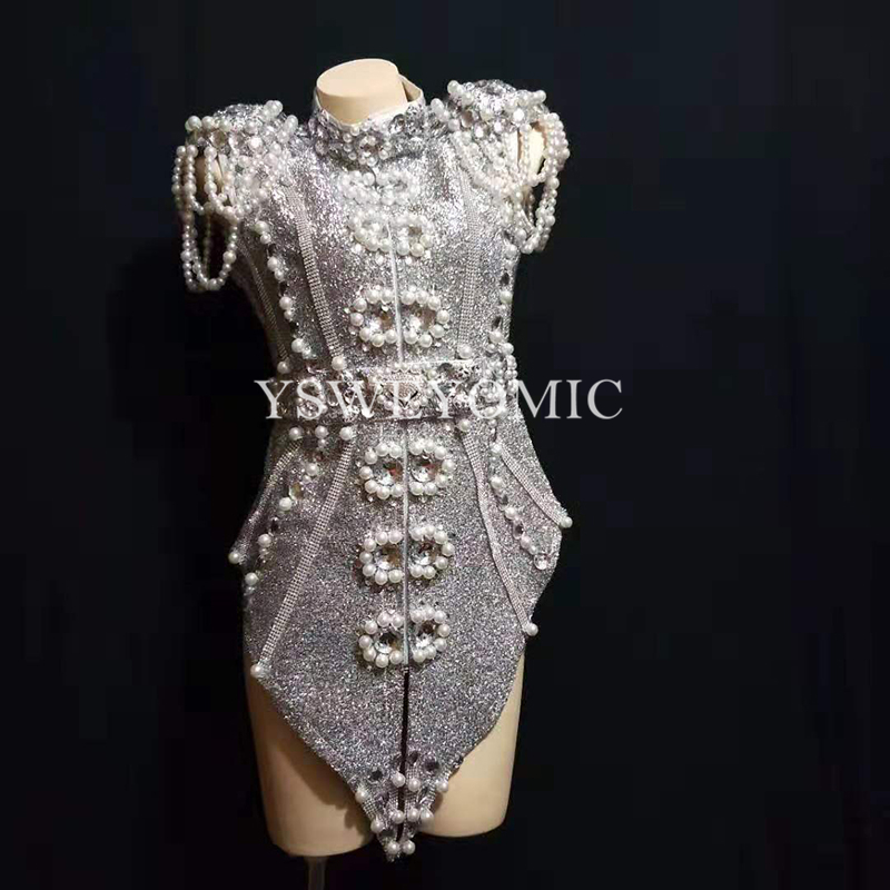 2019 новый дизайн к требованиям заказчика; сверкающие; серебристо серый жемчуг кристаллы наряд Одежда для танцев Детский костюм для вечерино