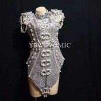 2019 новый дизайн Sparkly серебристо серый жемчуг кристаллы наряд Одежда для танцев Детский костюм для вечеринок клубной сцене боди для пения, та