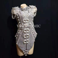 2019 New Design Sparkly Silver Gray Pearls Crystals Outfit Dance Wear Party Costume Stage Club bodysuit Singer Dance Wear