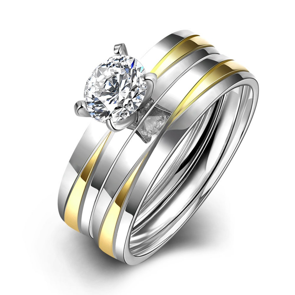 Stainless Steel Wedding Ring Set Gold Color Double Band Ring For Men Women With Large Stones Fashion Couple Ring Jewelry