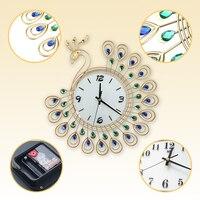 Fashion And Creative Peacock Wrought Iron Set Auger Wall Clock Bedroom Super Mute Wall Clock Modern Creative Quartz Clock