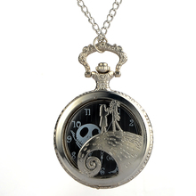 Cindiry Antique Black Nightmare Before Christmas Theme Pocket Watch Vintage Steampunk Pendant Fob Necklace Gift P30