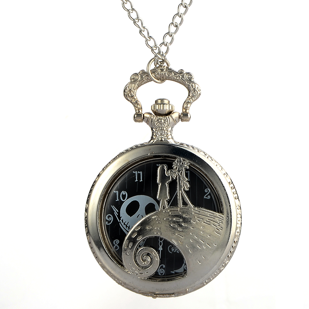 Cindiry Antique Black Nightmare Before Christmas Theme Pocket Watch Vintage Steampunk Pendant Fob Necklace Gift P30 цена и фото
